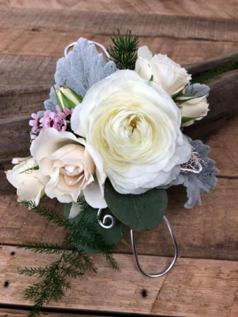 Grey and White   Corsage
