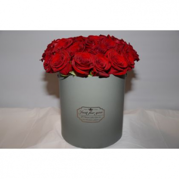 Grey Hat Box with Roses Hat Box