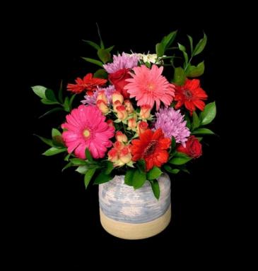 Gray Pottery Vase Floral Dancing Gerber Daisies