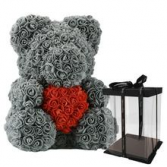 Grey Rose Teddy bear With Red Heart 14 Inches Tall