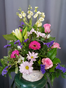 Grower Direct's Basket of Blooms Funeral Flowers