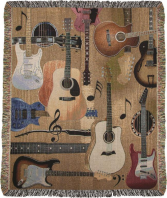 Guitar Collage Throw Gift