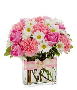 """PINK DELIGHT"" SHADES OF PINK AND WHITE FLOWERS    ARRANGED IN A CUTE VASE WITH MATCHING RIBBON...ROSES, CARNATIONS AND DAISIES!!"