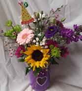 Birthday Heart Mason Jar Bouquet...seasonal  flowers and Birthday Pic arranged in heart mason jar. (color jar may vary)