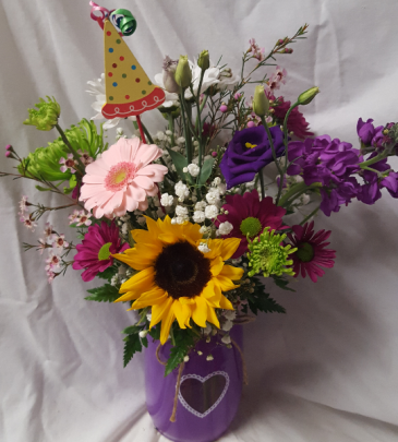 Mason Birthday Heart Jar...bright flowers and  Birthday Pic arranged in heart mason jar. (color jar may vary)