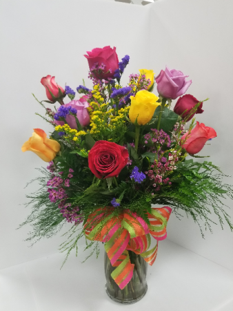 Gypsy Rose Bouquet One dozen mixed colored roses