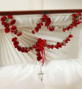 Hail Mary Rosary with Roses Flowers for Funeral Service