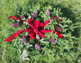 Half Blanket with Red Pine Cones Cemetery Decoration