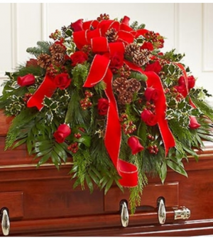 Half Casket Cover in Christmas Colors Arrangement in Croton On Hudson, NY | Cooke's Little Shoppe Of Flowers
