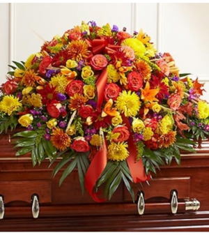 Half Casket Cover in Fall Colors Sympathy Arrangement in Croton On Hudson, NY | Cooke's Little Shoppe Of Flowers