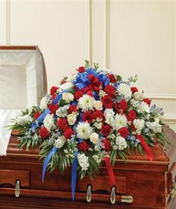 Half Casket Cover Red, White, and Blue Funeral