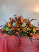 half casket or blanket of flowers half casket of choice of color flowers