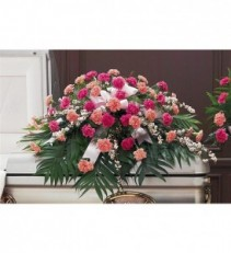 CELEBRATION OF LIFE Half Casket Spray of light pink and hot pink carnations and filler. ( Any color carnations can be used).