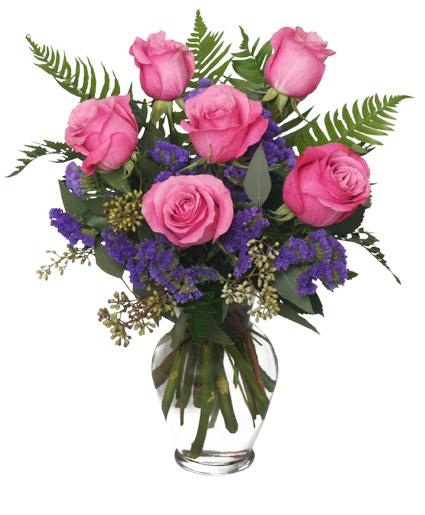 Half Doz Pink Roses Vase Arrangement