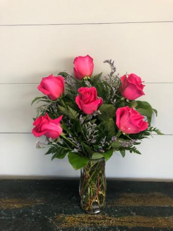 Half Dozen Hot Pink Roses Vase Arrangement
