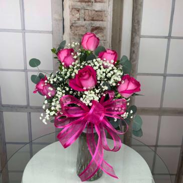 Half Dozen Hot Pink Roses Vased