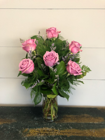 Half Dozen Lavender Roses Vase Arrangement