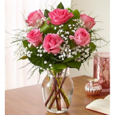 Half Dozen Lush Pink Roses Vase Arrangement