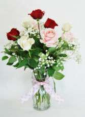 HALF DOZEN MIXED COLOR ROSES Flower Arrangement