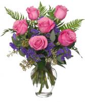 Half Dozen Pink or Red Roses