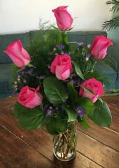 Half Dozen Pink Roses Arrangement