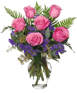 Half Dozen Pink Roses Vase Arrangement in Incline Village, NV | High Sierra Gardens