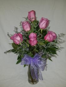 Half dozen purple roses Vase
