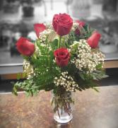 Half Dozen Red Rose Arrangement RA6R