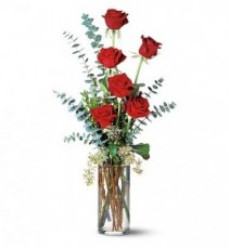 Half Dozen Red Roses Vase Arrangement