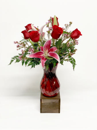 Half Dozen Red Roses and a Lily Valentine Arrangement