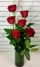 Classic Stylized Half A Dozen Red Roses Roses