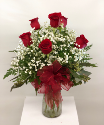 Half Dozen Red Roses Vase Fresh Arrangement