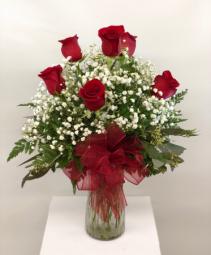 Half Dozen Red Roses Vase Fresh Arrangment