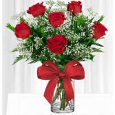 Half Dozen Red Roses  Vased Arrangement