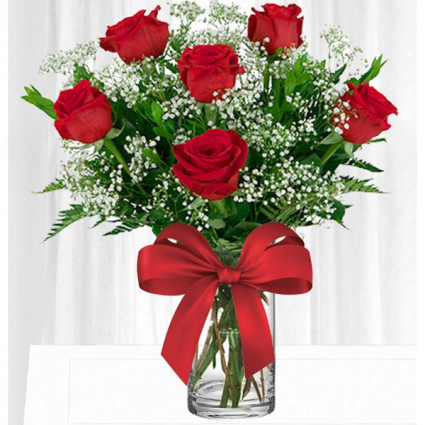 Half Dozen Red Roses  Vased Arrangement
