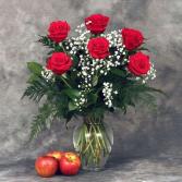 Half Dozen Red Roses w/ Baby Breathe Rose