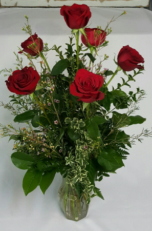 Half Dozen Rose Vase with Filler Vase Arrangement