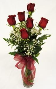Half Dozen Roses Red Roses Vased
