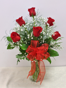 FA124: Half Dozen Roses in a Vase