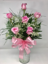 Half Dozen Roses shade of rose may vary