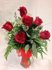 Six Premium Roses Vase Arrangement