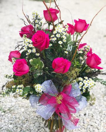 Pink Dozen Roses Vase Arrangement
