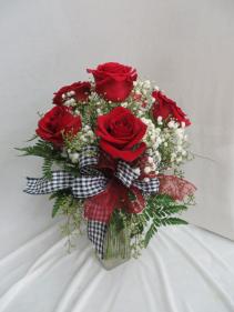 Half Dozen Roses Vased Fresh Rose Arrangement
