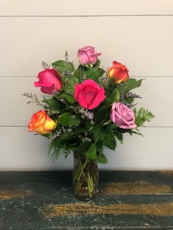 Half Dozen Summer Sunset Roses Vase Arrangement