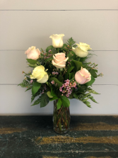 Half Dozen Timeless Roses Vase Arrangement
