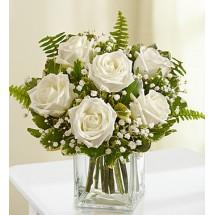 Half Dozen White Roses Fresh Arrangement