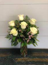 Half Dozen White Roses Vase Arrangement