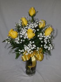 Half dozen yellow roses