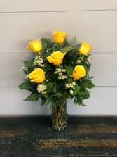Half Dozen Yellow Roses Vase Arrangement