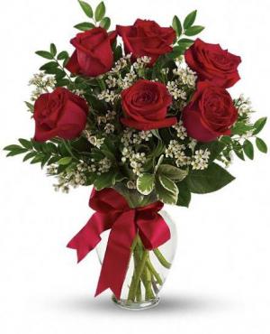Half DZ red rose Arrangement  in Whittier, CA | Rosemantico Flowers
